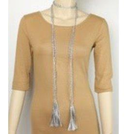 Golden Stella Beads and Tassel Lariat Silver