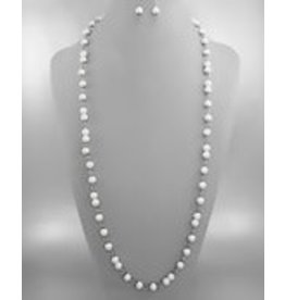 Golden Stella Pearl Necklace w/ Silver Linkage & ER Set