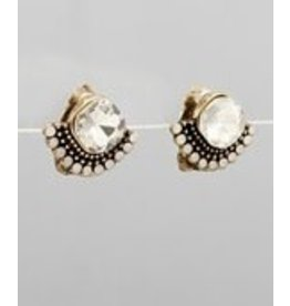 Golden Stella Diamond Shape & Sector Deco Earrings Burnt Gold/Clear