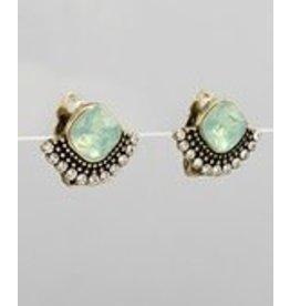 Golden Stella Diamond Shape & Sector Deco Earrings Burnt Gold/Mint