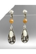 Golden Stella Metal & Beads Earrings Silver Light Brown