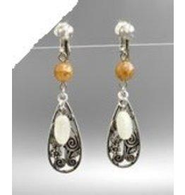 Golden Stella Metal & Beads Earrings Silver Light Brown