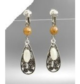 Golden Stella Metal & Beads Earrings-Silver Lt Brown