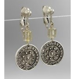Golden Stella Textured Metal Circle Drop Earrings Burnt Silver