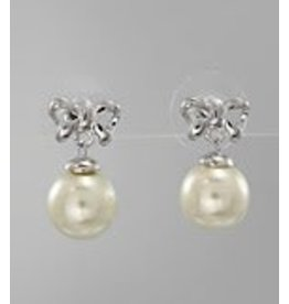 Golden Stella Bow Tie and White Pearl Earrings Silver