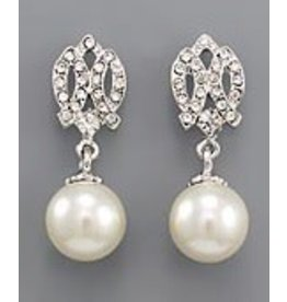 Golden Stella Paved Double Curved Bar w Cream Pearl Dangle Earring Silver