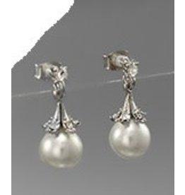 Golden Stella White Pearl w Cap Design Dangle Earrings Silver