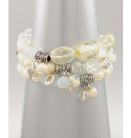 Golden Stella 3 Piece Beads Stretch Bracelet Clear/ White/ Lt Blue