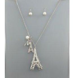 Golden Stella Eiffel Tower Pendant w/Crystal Necklace & Pearl Earrings Set Silver