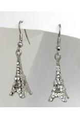 Golden Stella Eiffel Dangle Earrings w/ Crystals Silver