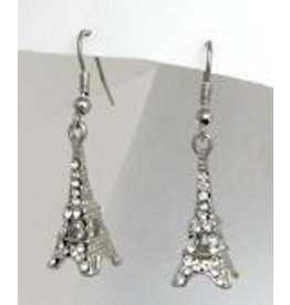 Golden Stella Eiffel Dangle Earrings w/ Crystals Silver