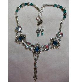 Sharon B's Originals Dark Blue & Crystal w/ Silver 2 Strand Necklace & Earring Set