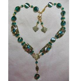Sharon B's Originals Teal Multi Color Antique Gold 2 Strand Necklace & Earring Set