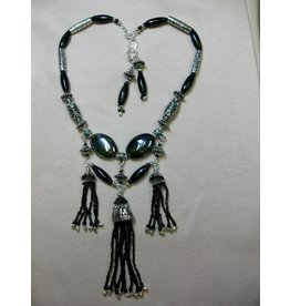 Sharon B's Originals Black 3 Tassels w/ Silver 2 Strand Necklace & Earring Set