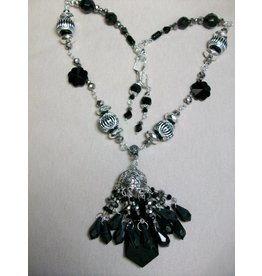 Sharon B's Originals Black & Silver Tassel w/ Swirl Beads Necklace & Earring Set