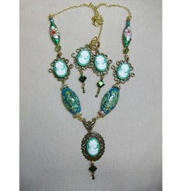 Sharon B's Originals Green Cameos w/ Lampwork Beads Necklace & Earring Set