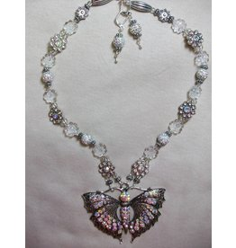 Sharon B's Originals Iridescent Crystal & Silver Necklace & Earring Set