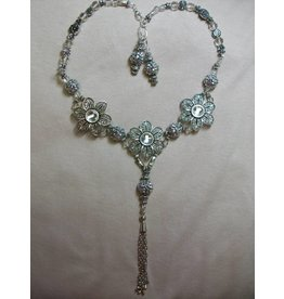 Sharon B's Originals 3 Silver Flowers w/ Crystal 2 Strand Necklace & Earring Set