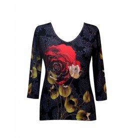 Valentina Signa 3/4 Sleeve Lycra Top Damisk Rose