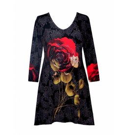 Valentina Signa 3/4 Sleeve Lycra Tunic Plus Damask Rose