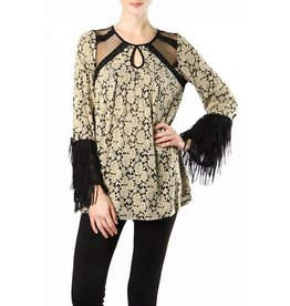 RYU Long Sleeve Keyhole Top Fringe Cuff