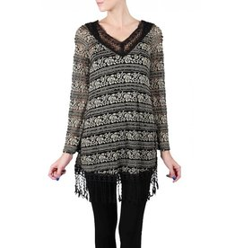 A'reve V-Neck 3/4 Sleeve Tunic/Dress w/ Fringe Bottom