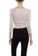 A'reve Sheer Crop Sleevy Lace Bottom