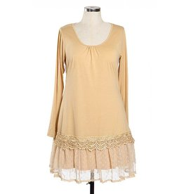 RYU Long Sleeve Dress Ruffle Bottom Beige