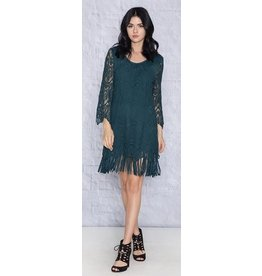 Monoreno Suede-like 3/4 Sleeve Lace Dress w/ Fringe Teal