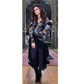 Bronte Hi-Lo Burnout Velvet Wrap Jacket Multi Color