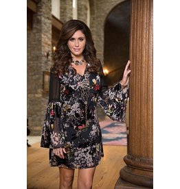 Bronte V Neck Bell Sleeve Burnout Velvet Short Dress/Tunic Multi Color