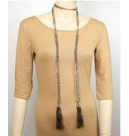 Golden Stella Beads and Tassel Lariat Gold/Brown