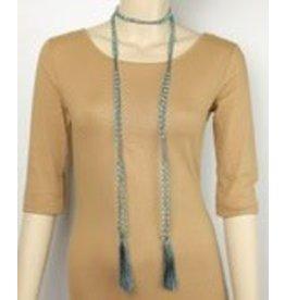 Golden Stella Beads and Tassel Lariat Aqua