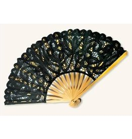 Victorian Trading Co Black Lace Fan