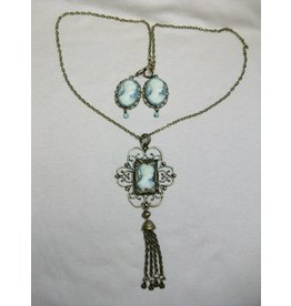 Sharon B's Originals Blue/Grey 3 Cameo Ant. Gold Tassel Pendant Necklace & ER Set