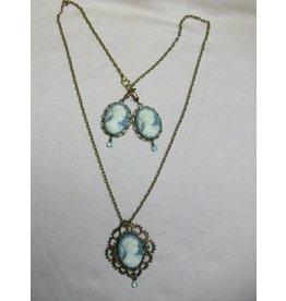 Sharon B's Originals Blue/Grey 3 Cameo Ant. Gold Pendant Necklace & ER Set