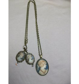 Sharon B's Originals Reversible Blue/Grey/Ant Gold 3 Cameo Necklace & Earring Set