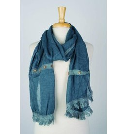Paisley Road Floral Relief w/ Buttons Scarf Blue