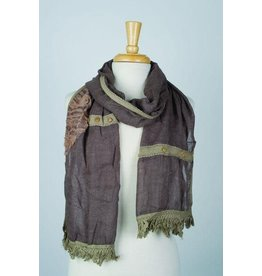 Paisley Road Floral Relief w/ Buttons Scarf Brown