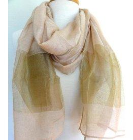 Paisley Road Silk Scarf w/ Gold Border-Pink Beige