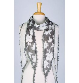 Paisley Road White Flowers on Gray Scarf