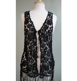 Paisley Road Short Crochet Vest with Fringe Black
