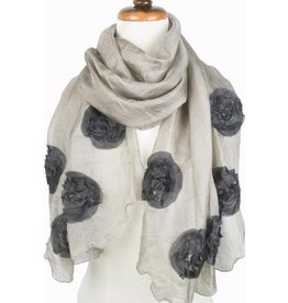 Paisley Road Silk Scarf with Floral Accents Taupe
