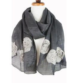 Paisley Road Silk Scarf with Floral Accents Charcoal