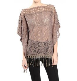 A'reve Crochet Neckline 1/2 Sleeve Top w/ Fringe Bottom Cocoa