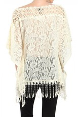A'reve Crochet Neckline 1/2 Sleeve Top w/ Fringe Bottom Cream