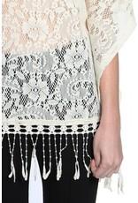 A'reve Crochet Neckline 1/2 Sleeve Top w/ Fringe Bottom Cream