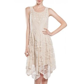 A'reve Sleeveless Lace Overlay Dress Hankerchief Hem w/Lining Cream