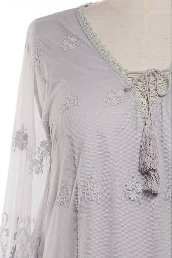 A'reve 3/4 Sheer Sleeve Embrod/Lace Tunic Grey