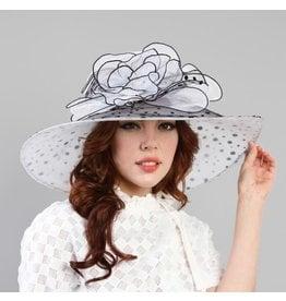 Something Special LA Large Brim Crushable Polka Dot Hat White